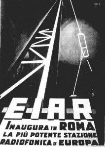 Manifesto in stile futurista in occasione della prima trasmissione radiofonica italiana